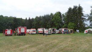 Ein Teil des Fahrzeugparks am Gelände des RK-Heims.